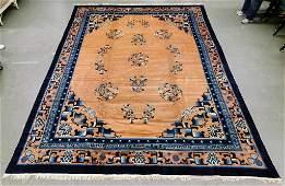 Antique Chinese Peking Blue Peach Rug