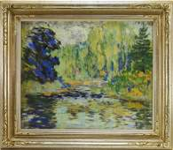 Edgar Payne Garden Pond Landscape Pastel Drawing
