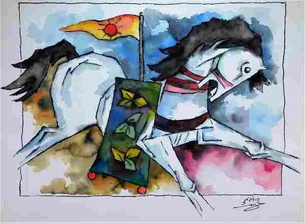 Maqbool Fida Hussain Raging Horse WC Painting