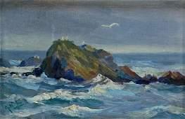 Diminutive Impressionist Coastal Seascape Painting