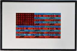 James Bridge American Flag Mixed Media Painting