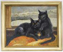 S Webster American Impressionist Cat Painting