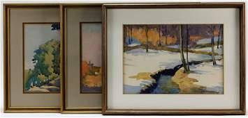 3 Charles Henry Richert Landscape WC Paintings