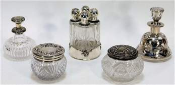 5PC Victorian Sterling Silver Glass Article Group