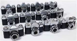Group of 12 Zeiss Ikon Contaflex 35mm SLR Cameras