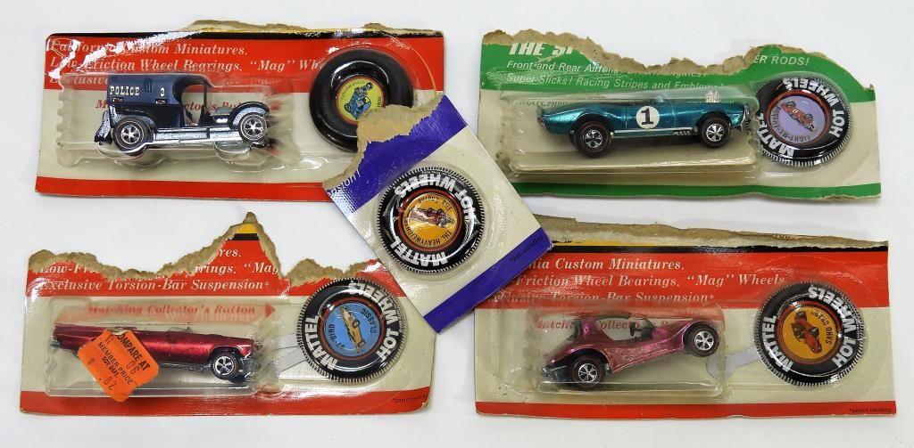 5PC 1969 Mattel Hot Wheels Redline MOSC Cut Cards