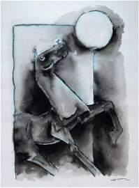 Maqbool Fida Hussain Cubist Horse WC Painting