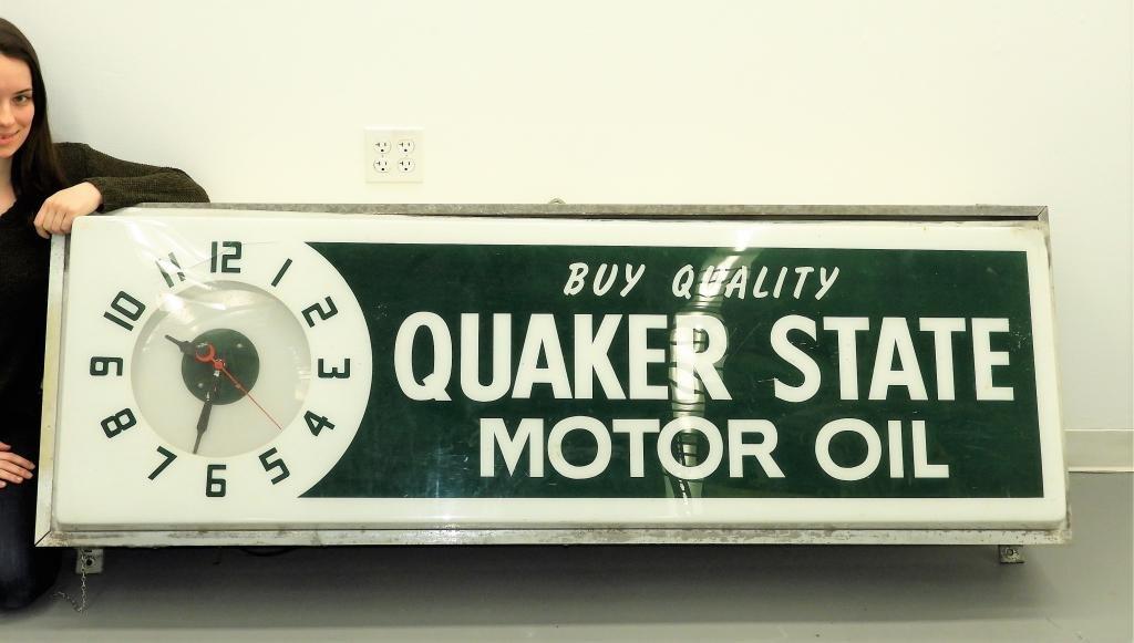 LG Quaker State Motor Oil Advertising Clock Sign