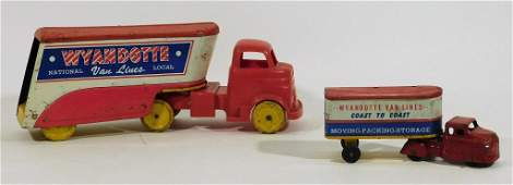 2PC Wyandotte Van Lines Tin Lithograph Toy Trucks