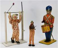 3PC Antique Tin Lithograph Wind Up Clown Toy Group