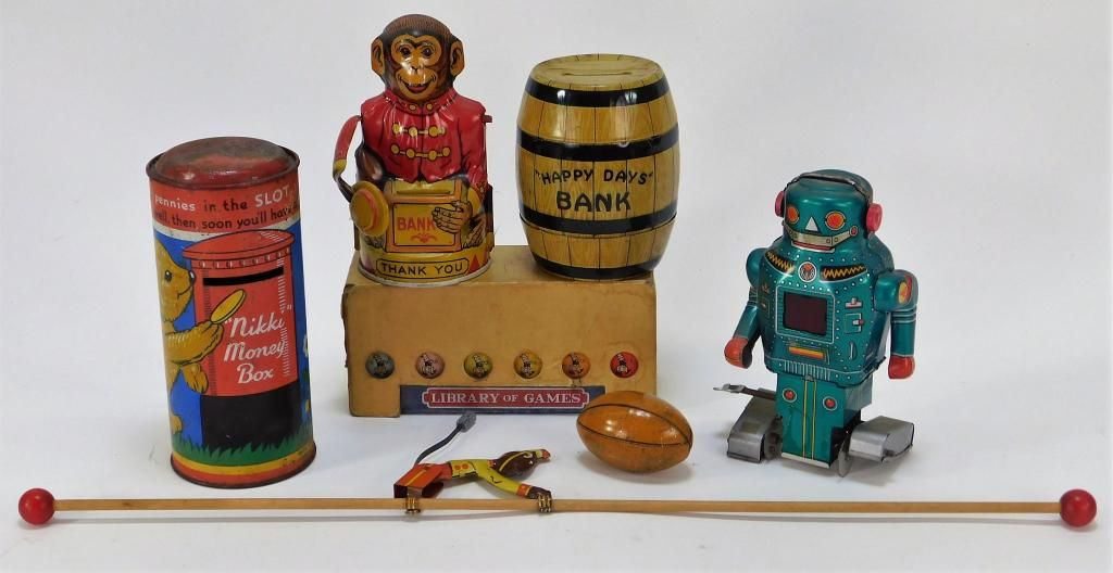 7PC Antique Tin Windup Toy Library of Games Group