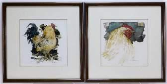 PR Eddie Flotte Chicken Rooster WC Paintings