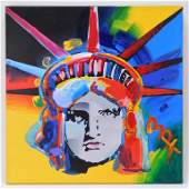 Authentic Peter Max Liberty Head Pop Art Painting