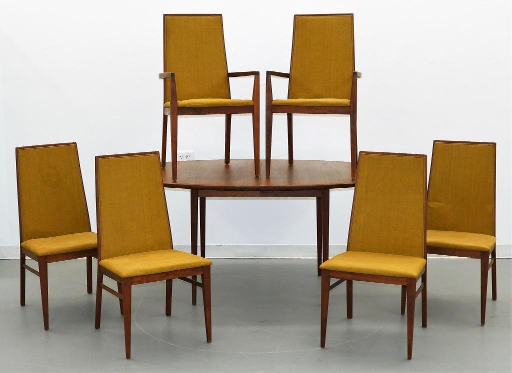 Dillingham MCM Modern Walnut Dining Room Set