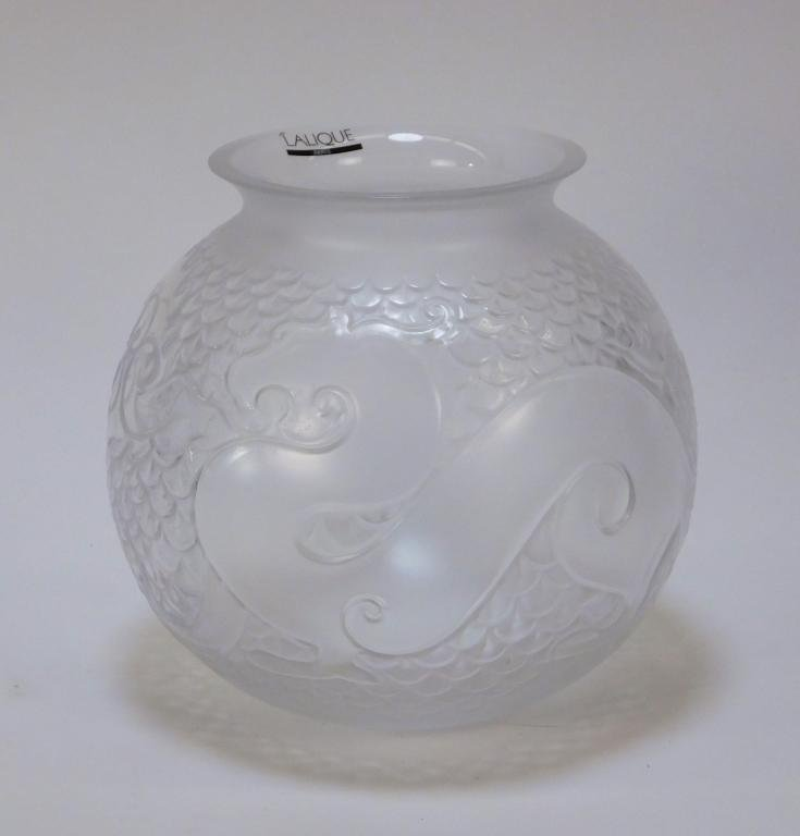 Lalique French Crystal Glass Xian Dragon Vase