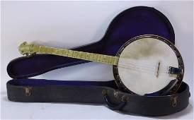 Vintage 1940-50's Celluloid Tenor Resonator Banjo