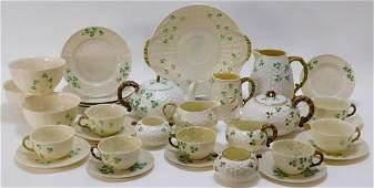 34PC Irish Belleek Shamrock Basket Weave Porcelain