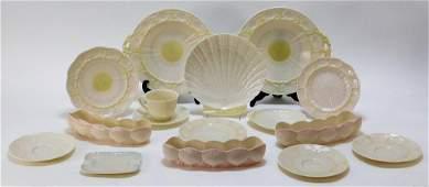 31PC Irish Belleek Nautilus Basket Weave Porcelain