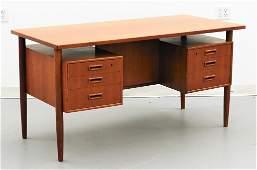 C.1960 Danish MCM Modern Teak Wood Desk