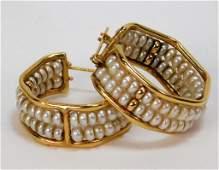 PR 14K Yellow Gold Seed Pearl Hoop Earrings