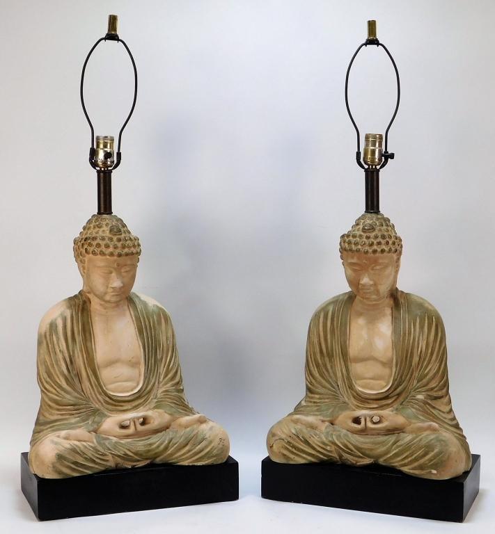 James Mont Hollywood Regency Buddha Lamps