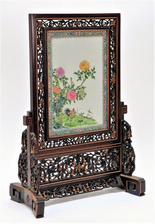 EXCEPTIONAL Chinese Porcelain Plaque Table Screen