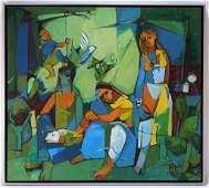 Ezra Talkar Israeli Cubist Modern O/C Painting