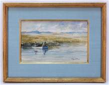 Ray Ellis Impressionist Fishing WC Painting