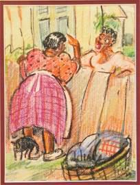 Lois Mailou Jones Backyard Gossip Illustration