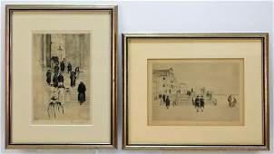 2 Ernst Oppler German Street Etchings