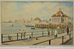 19C American School Cambridge Bridge WC Painting