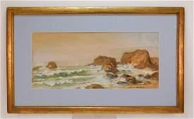 Edmund Darch Lewis Coastal Landscape WC Painting