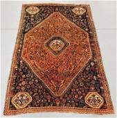 Iranian Navy and Red Geometric Pictorial Rug