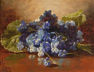 Edward C. Leavitt Violet Still Life Painting