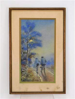 George Whitaker Nocturnal Landscape WC Painting