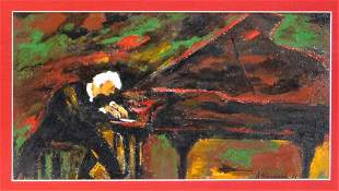 Modernist Piano Player Painting