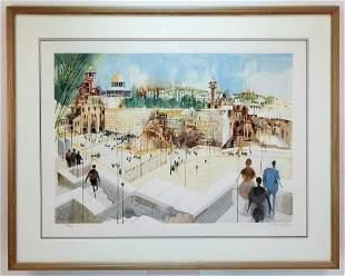 Modernist Israel Judaic Cityscape Lithograph
