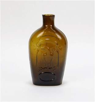 American Pressed Amber Glass Eagle Bottle