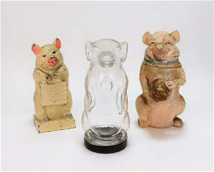 3PC Hubley and European Piggy Banks
