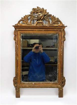 18C Continental Carved Gilt Wood Wall Mirror