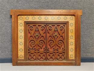 Victorian Carved Wood and Tile Fireplace Surround