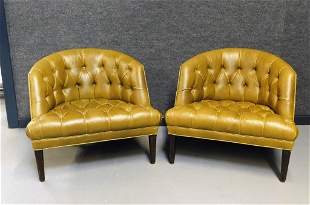 PR Tufted Green Leather Club Chairs
