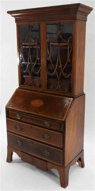 English Sheraton Mahogany Inlaid Book Case Desk