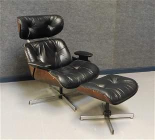 2PC MCM Lou App Plycraft Leather Chair & Ottoman