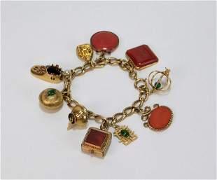 9K Gold Ruby Sapphire Hardstone Charm Bracelet