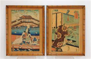 2PC Yoshitora Utagawa & Kuniyoshi Woodblock Prints