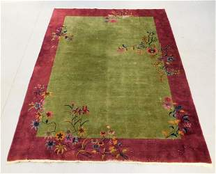 Antique Chinese Pictorial Art Deco Rug