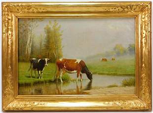 Clinton Loveridge Impressionist Cows Painting
