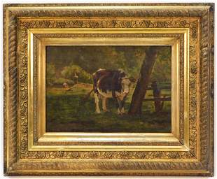 Jules Didier Impressionist Cow Painting