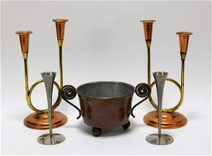 5PC MCM Metal Candlestick Tableware Grouping